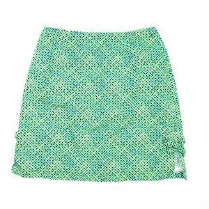 Lilly Pulitzer Skirt Zip Back Green Blue Pockets 8